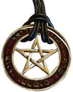 """Seal of the Sephiroth pendant From the ancient, #Judaic mystical #Kabbala, are recited the names of the five elemental rulers (#Ariel, #Kerub, #Seraph, #Tharsis and #Avir), of the #Sephiroth, the attributes from which #Yahweh created all things. A striking #talisman with an unusual appearance A large pewter ring #pendant with #Hebrew script and a #pentagram centre. Pewter ring is translucent wine coloured enamel. 1 3/4""""."""