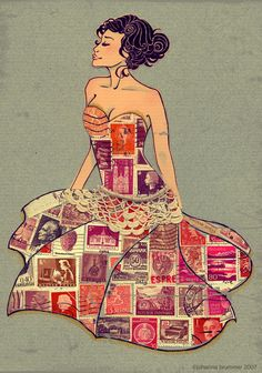 Postage stamp dress, to wear when you make mail art of course Collage Kunst, Collage Art, Art Journal Pages, Art Journals, Paper Dolls, Art Dolls, Scrapbook, Collages, Art Postal