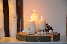 Weihnachten - Adventskranz Baumscheibe BIG Weihnachten Advent - ein Designerstück von majalino bei DaWanda