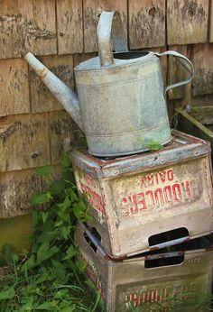 Old watering can! Love this old galvanized tin watering can.such character! Water Garden, Garden Pots, Garden Junk, Garden Ideas, Rustic Gardens, Outdoor Gardens, Old Milk Cans, Galvanized Buckets, Vintage Tins