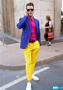 This outfit has triadic colors, which are colors that have 3 points on a color wheel.