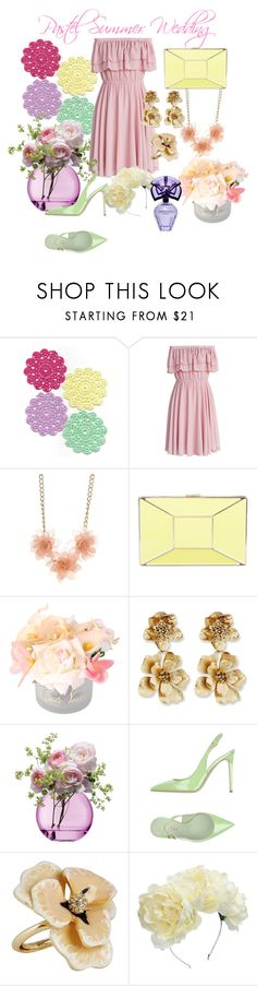 """""""Summer Wedding"""" by faustapink900 ❤ liked on Polyvore featuring Chicwish, New Directions, Kate Spade, Côte Noire, Oscar de la Renta, LSA International, Le Silla, Kenneth Jay Lane, Lulu in the Sky and BCBGMAXAZRIA"""