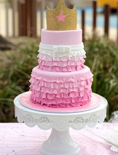 Pink Ombre Princess Birthday Cake