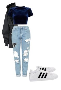 """""""My First Polyvore Outfit"""" by musicisbreathing-1 ❤ liked on Polyvore featuring adidas, Balmain and Topshop"""