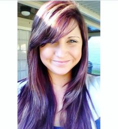 My new hair! Violet red hues with highlights and layers, I'm in love with it!