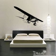 Biplane Airplane Decals, Nursery air plane Decals, air craft Decal, Biplane, Wall Decal, Kids Aeroplane Decal, Customised