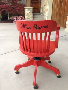 Teacher Appreciation- goodwill vintage wood desk chair. Painted in favorite color and name font disney! Her favorite place on earth. Teacher loved it!!