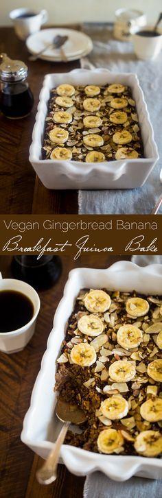 Vegan Gingerbread Banana Breakfast Quinoa Bake - Quinoa is mixed with molasses, spices, bananas and baked for a healthy, make-ahead, gluten free and vegan friendly breakfast! Perfect for the Christmas morning!   http://Foodfaithfitness.com   /FoodFaithFit/