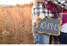 save the date chalkboard sign - engagement prop - For a maternity session write the date on her belly? :)