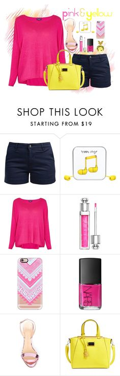 """Pink & Yellow"" by my-style-xo ❤ liked on Polyvore featuring Barbour, Happy Plugs, Splendid, Christian Dior, Casetify, NARS Cosmetics, Annick Goutal, Giuseppe Zanotti, CXL by Christian Lacroix and contest"