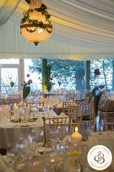 Pavilion wedding set up with our stunning Chandelier