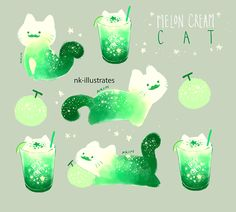 Melon Cream Cat (c)Nadia Kim. This is a gallery-quality giclée art print on cotton rag archival paper, printed with archival inks. Cute Animal Drawings, Kawaii Drawings, Cool Drawings, Art Kawaii, Kawaii Cat, Pet Anime, Anime Art, Desu Desu, Cream Cat
