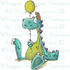 Birthday Dino - Dinosaurs - Animals - Rubber Stamps - Whipper Sapper Designs