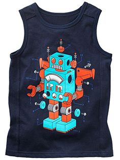 Fiream Toddler and Boys Comfort Cotton Cartoon Tank Tops by Brix -- You can find more details at
