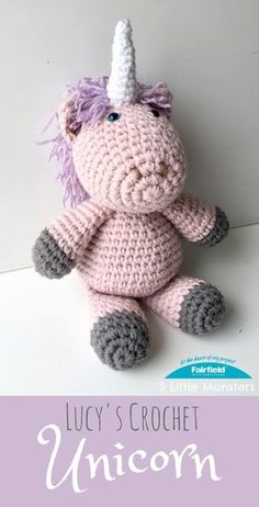 Free Pattern for a cuddly crochet unicorn doll made with double strands of yarn for a quick project.