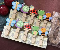 Animals Photo Clips Natural Mini Wooden Clothespins Photo Paper Peg Colored DIY Craft Clips with Jute Twine,Pack of Wooden Clothespins, Wooden Pegs, Amazon Christmas Decorations, Paper Crafts, Diy Crafts, Bee Design, Jute Twine, Birthday Favors, Childrens Party