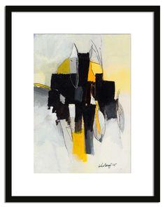 original acrylic abstract painting on paper 7x10 inch, small wall black, white, yellow acrylic painting on paper, original work door kuzennyArt op Etsy https://www.etsy.com/nl/listing/230475847/original-acrylic-abstract-painting-on