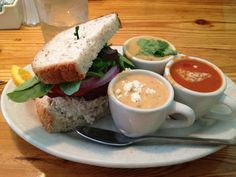 "Five Loaves Cafe Best Soup Sampler and ""green food"" in Charleston #CharlestonHealthyRestaurants"