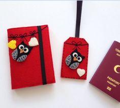 Kırmızı Şirin Pasaport Kılıfı ve Valiz EtiketiSeti