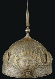 Persian Antique / a Qajar gold and silver - damascened helmet (Khud) IRAN, 19Th century.