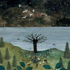 At the beginning of winter - pittura di Saito Tomoko