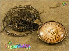 Handmade Sun Moon Face Pagan Wiccan Symbol Necklace & Pendant Gift/Present. by RainbowLane on Etsy
