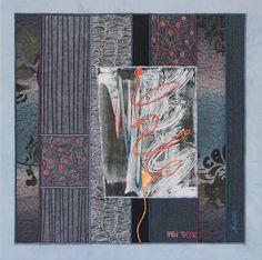 """AUSWEG / THE WAY OUT"", textile Collage von Annette Aue, Monoprint"