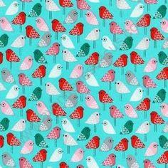 tissu kokeshi oiseaux
