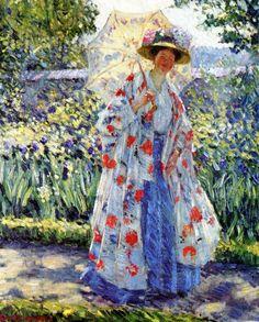 ⊰ Posing with Posies ⊱ paintings of women and flowers - Frederick Carl Frieseke | Promenade in the Garden (Frederick Carl Frieseke - )