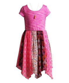 Another great find on #zulily! Pink Geometric Handkerchief Hem Dress - Kids #zulilyfinds