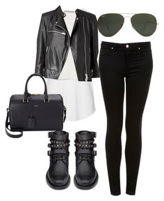 """""""♥"""" by chocolatcocacola ❤ liked on Polyvore featuring Topshop, Zara, Ray-Ban, AllSaints, Yves Saint Laurent and eleanorcalder"""
