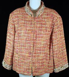 Chicos Tweed Blazer Jacket Womens Size 2 with Pearl and Sequin Embellishments