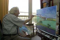 Kunstschilder Toon Tieland aan het werk in zijn atelier, in het Burgemeester Van Randwijckhuis. Dutch Artists, Old And New, Abstract, Writers, Designers, Painting, Atelier, Summary, Painting Art