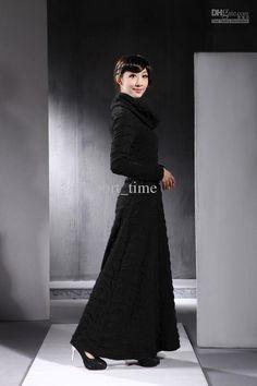 Fashion Dress High Neck Long Sleeves Drape Long Dress Womens Dress XXL 2013 Spring Dress Hot Sale