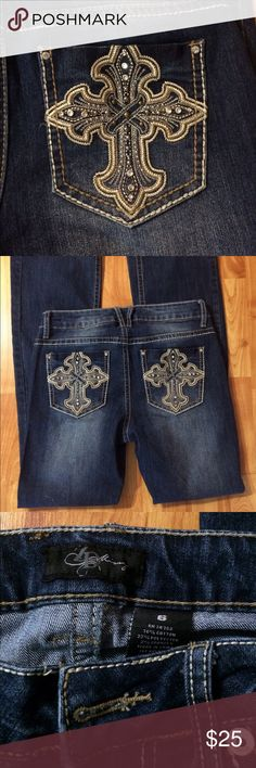 ZD Missy Jeans Excellent condition. Dark blue with embellishment on back pockets. ZD Missy Jeans Flare & Wide Leg
