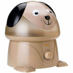 Crane Cool Mist Humidifier - Dog. Heating and cooling units can dry out the air in your home. Add moisture to the air and help your little one breath easier with this frog-shape humidifier. The whisper-quiet operation won't disturb sleep while the darling design adds a playful touch to the room. The 1-gal. tank can output up to 2.2 gal. of moisture a day and features an auto shutoff feature when the tank is empty. For use in rooms up to 500 sq. ft. $39.99