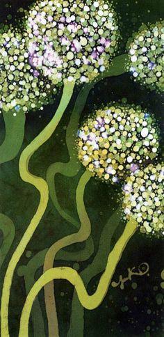 植物イラスト バティック・玉ねぎの花(1)伸びる茎