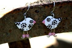 Handpainted elegant cute bird charm dangle by HorakovaDesigns, $11.00