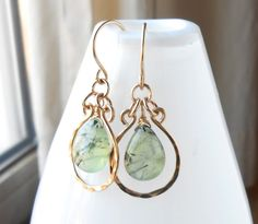 Hammered Gold Dangle Earrings with Light Green Prehnite Gemstone Briolettes, Wire Work Jewelry
