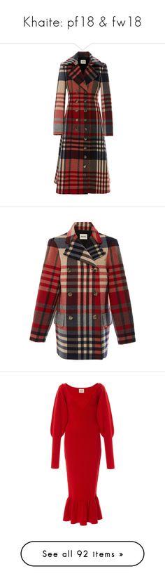 """Khaite: pf18 & fw18"" by livnd ❤ liked on Polyvore featuring livndfashion, khaite, livndkhaite, prefall2018, outerwear, coats, red coat, dresses, red flare dress and red ruffle hem dress"