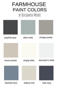 Farmhouse Paint Colors by Benjamin Moore - bathroom paint colors Farmhouse Paint Colors by Benjamin Moore Bedroom Paint Colors, Interior Paint Colors, Paint Colors For Living Room, Paint Colors For Home, Paint Colours, Colors For Walls, Kelly Moore Paint Colors Interiors, Lowes Paint Colors, Best Bathroom Paint Colors