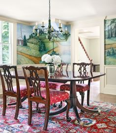 The rebuilt dining room is adorned with hand-painted murals depicting the Williams house amid other historic structures in the Nichols Farms Historic District.#diningroom #diningroomideas #murals #diningroommurals #diningroomdesign #homeimprovement #homedecor #diningroomdecor #diningroomremodel