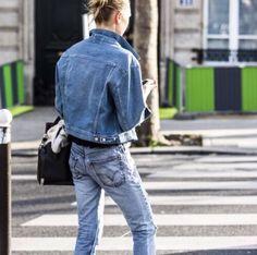 Denim jeans with denim jacket.