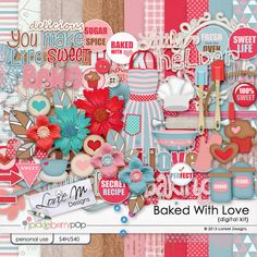 Baked With Love Kit M&m Recipe, Scrapbook Kit, Sweet Life, Digital Scrapbooking, Love, Baking, How To Make, Amor, Bakken