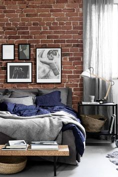amusing brick accent wall bedroom | Bedroom with brick accent wall | Bedrooms | Brick accent ...