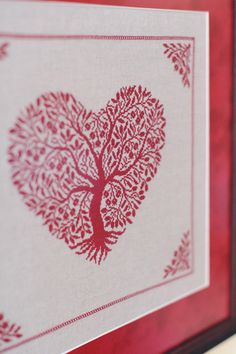 HEART cross stitch picture dark red