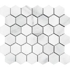"Found it at Wayfair - Verona Hexagon 2"" x 2"" Stone Mosaic Tile in Bianco Polished"