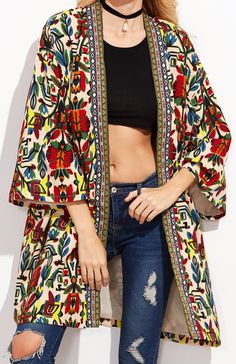 Casual Vintage Boho sleeve, lightweight, knee length coat in tribal print and trim. Wear this style fall thru spring! Kimono Fashion, Boho Fashion, Autumn Fashion, Fashion Looks, Fashion Outfits, Fashion Design, India Fashion, Street Fashion, Look Kimono