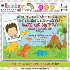 489 DIY Dinosaurs 3 Party Invitation Or Thank by LilRbwKreations