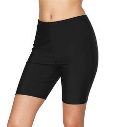 0676fe58ed Buy Womens Black Long Board Shorts High Waist Swim Shorts Swimsuit Bottom -  Black - CA180M73X09